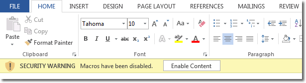 Word Options - Security Warning: Enable Content