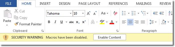 macros disable word