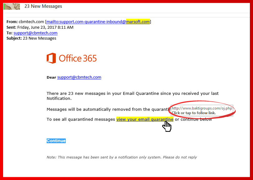 Office 365 Email Scam